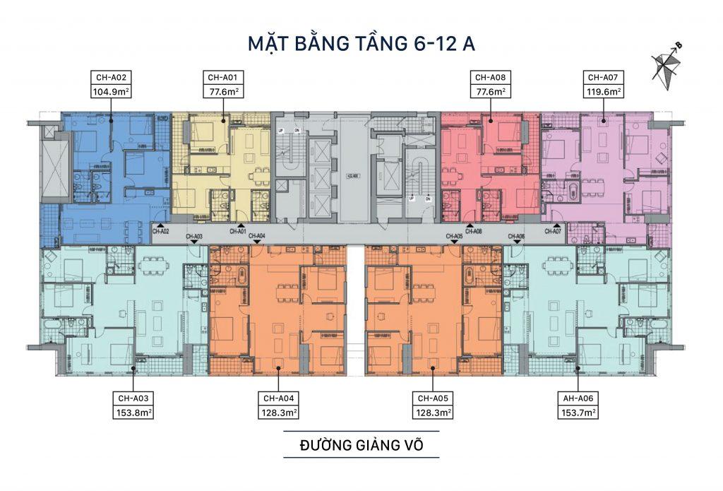 Mặt bằng Tầng 6-12A Dự án Grandeur Palace 138B Giảng Võ