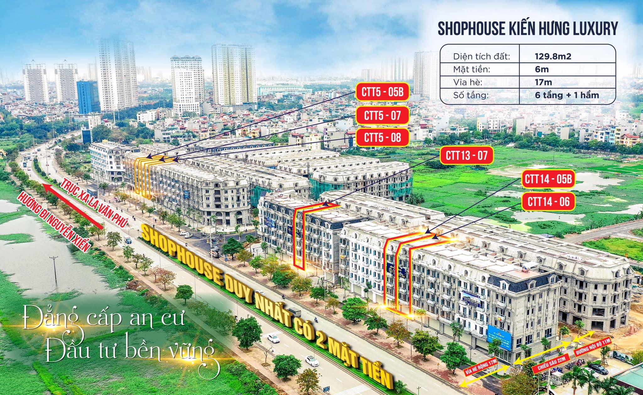 Shophouse Dự án Kiến Hưng Luxury 129,8m2 hoàn thiện 6 tầng + 1 hầm, 2 mặt tiền