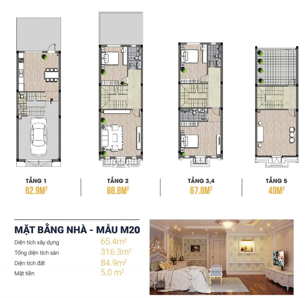 Thiết kế Liền kề 3 Kiến Hưng Luxury 4,5 tầng, mặt tiền 5m