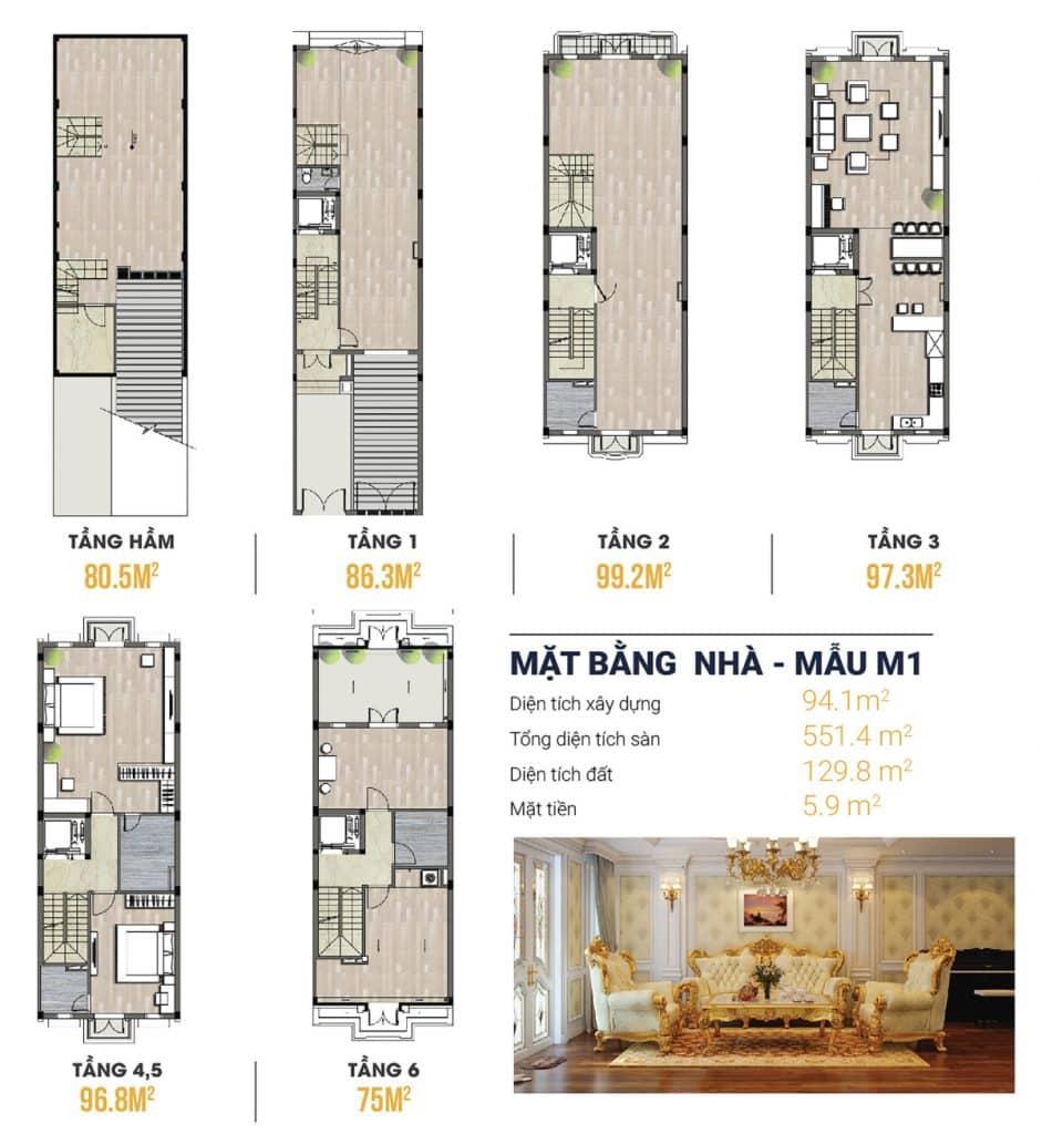 Thiết kế Shophouse Kiến Hưng Luxury 6 tầng + 1 hầm, thang máy