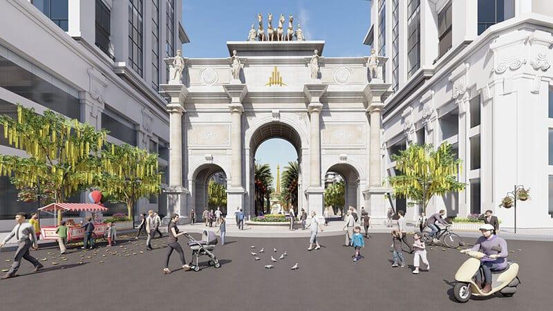 Cổng tam quan đặc sắc chào đón quảng trường Paris Elysor Thanh Hóa
