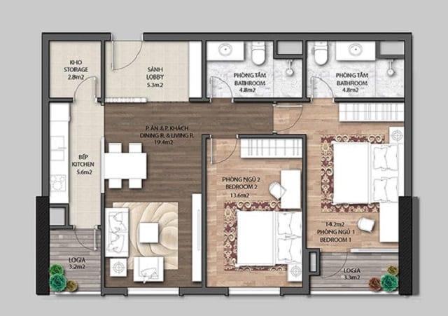 Tham khảo căn hộ 2 phòng ngủ Chung cư Jade Orchid Cổ Nhuế