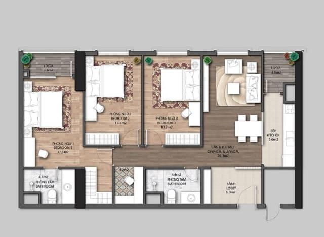 Tham khảo căn hộ 3 phòng ngủ Chung cư Jade Orchid Cổ Nhuế
