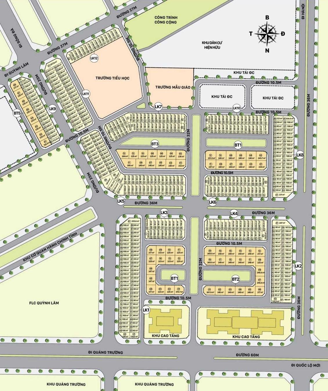 Mặt bằng phân lô chi tiết đất nền liền kề biệt thự Sudico Hòa Bình New City