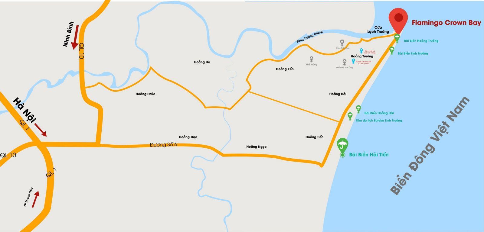 Vị trí Trung tâm Duyên hải Bắc Bộ của Flamingo Crown Hải Tiến