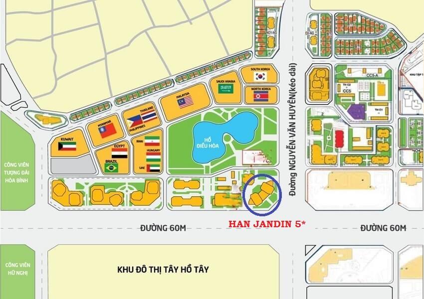 Vị trí giao lộ vàng Dự án Han Jardin N01-T6 N01-T7
