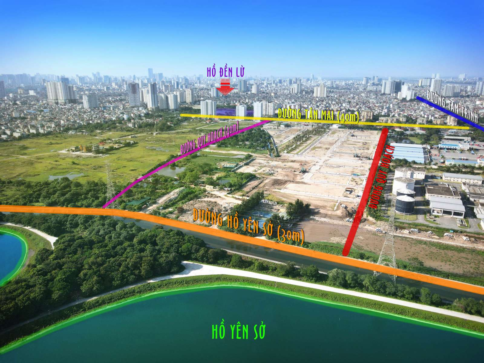 Flycam view từ hồ Yên Sở Louis City Hoàng Mai