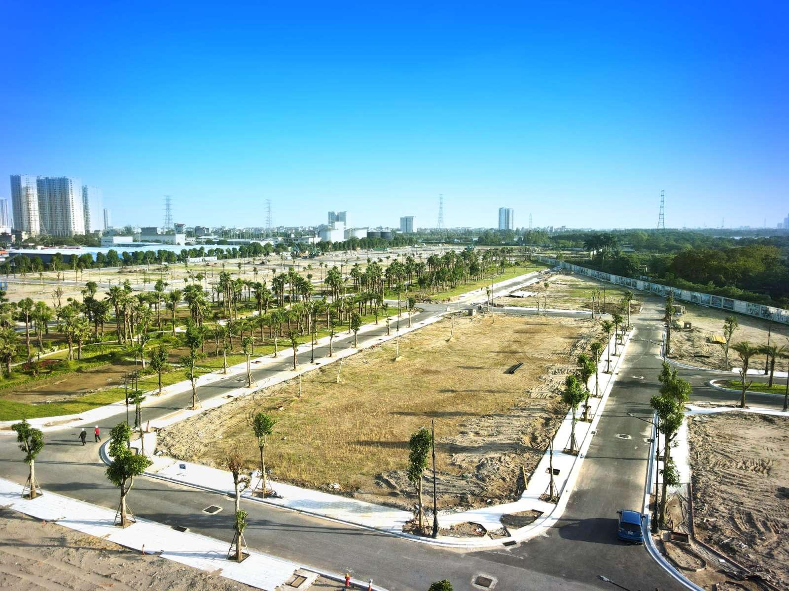 Flycam view từ Phòng bán hàng Dự án Louis City Hoàng Mai