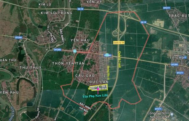 Vị trí khu đô thị Yên Phụ New Life Yên Phong, Bắc Ninh