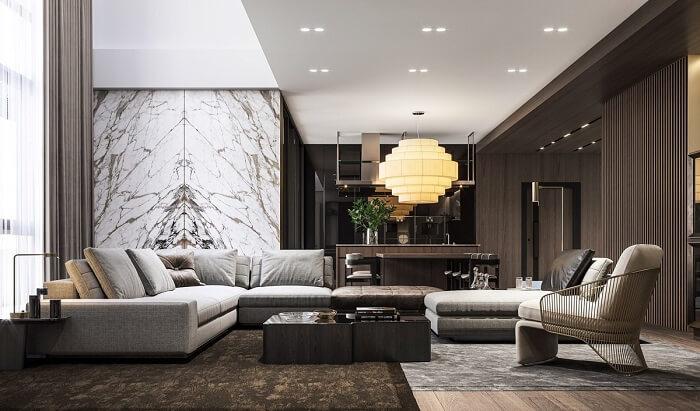 Tham khảo nội thất, thiết kế phòng khách căn hộ B12 Nam Trung Yên