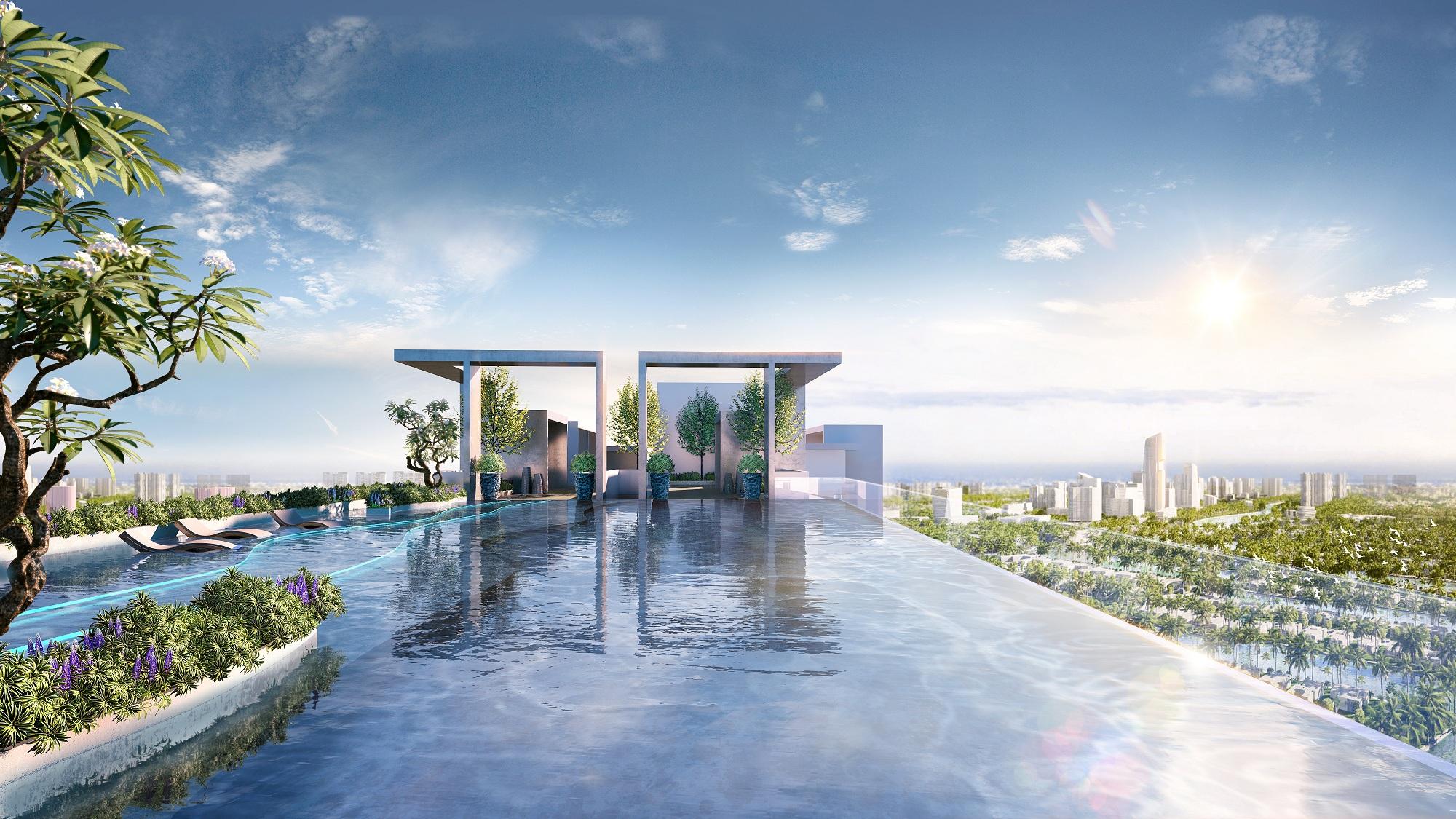 Bể bơi vô cực trên tầng 41 tháp đôi chung cư Sky Oasis, cư dân có thể vừa trải nghiệm thư giãn bơi lội, vừa ngắm nhìn toàn thành phố Ecopark xanh tươi