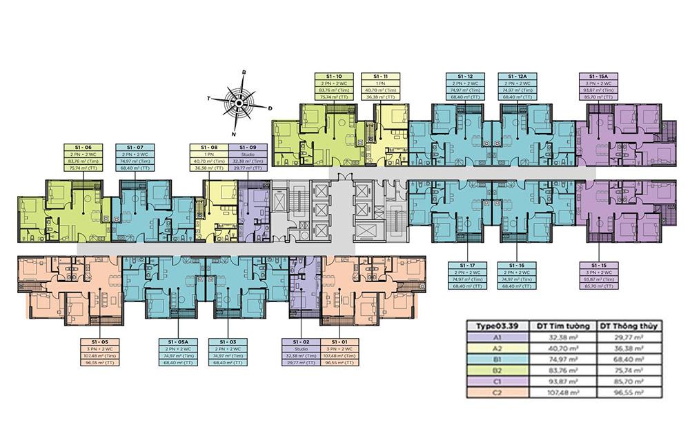 Mặt bằng tòa S1 tháp đôi 41 tầng chung cư Sky Oasis Ecopark