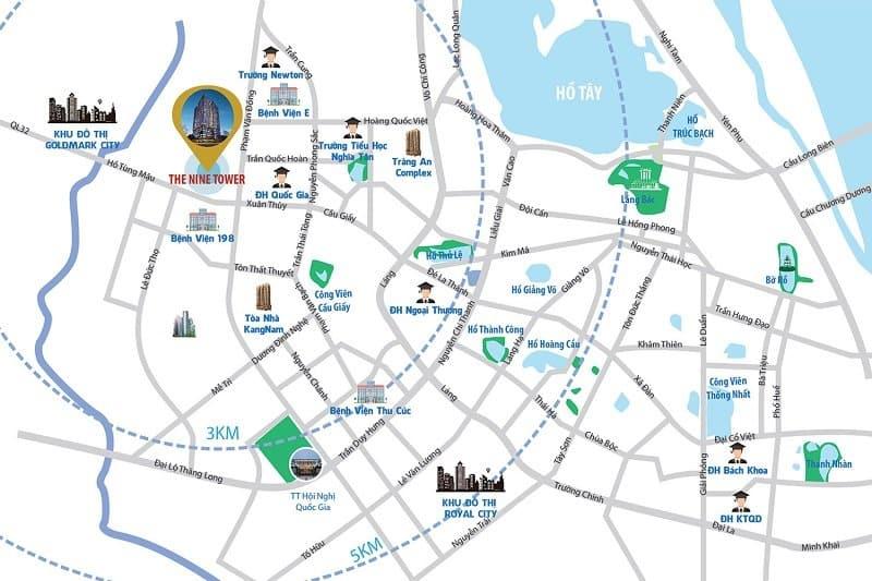 Vị trí Trung tâm Dự án Chung cư The Nine Tower số 9 Phạm Văn Đồng