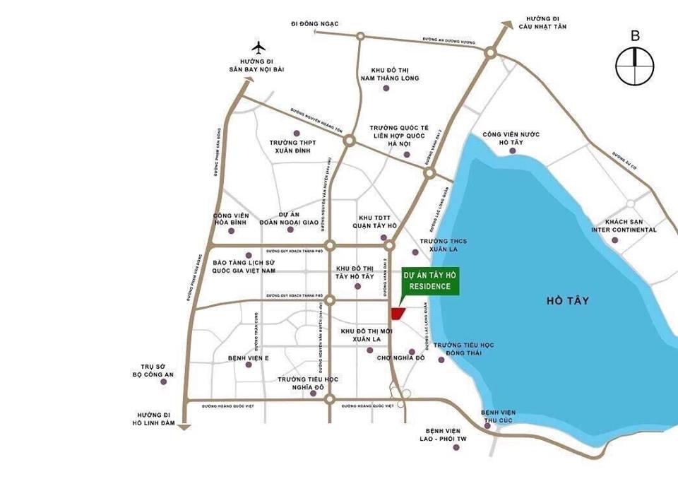 Vị trí Dự án Chung cư Tây Hồ Residence 68A Võ Chí Công