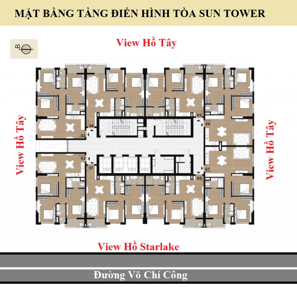 Mặt bằng Tòa Sun Tower Dự án Chung cư Tây Hồ Residence bố trí 08 căn hộ / sàn