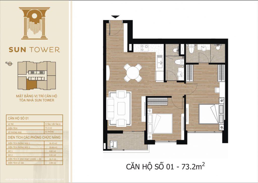 Thiết kế chi tiết căn hộ số 01 diện tích thông thủy 73,2m2