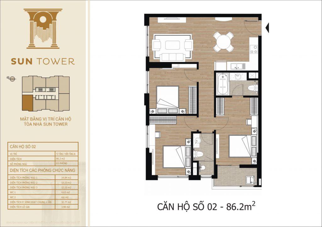 Thiết kế chi tiết căn hộ số 02 diện tích thông thủy 86,2m2