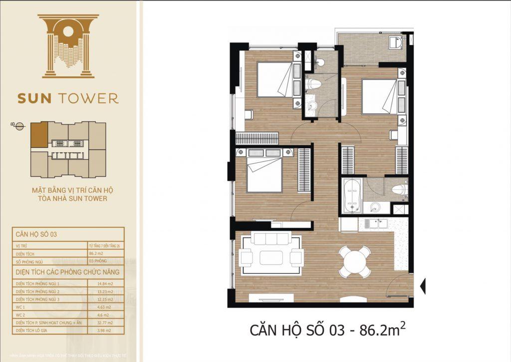 Thiết kế chi tiết căn hộ số 03 diện tích thông thủy 86,2m2