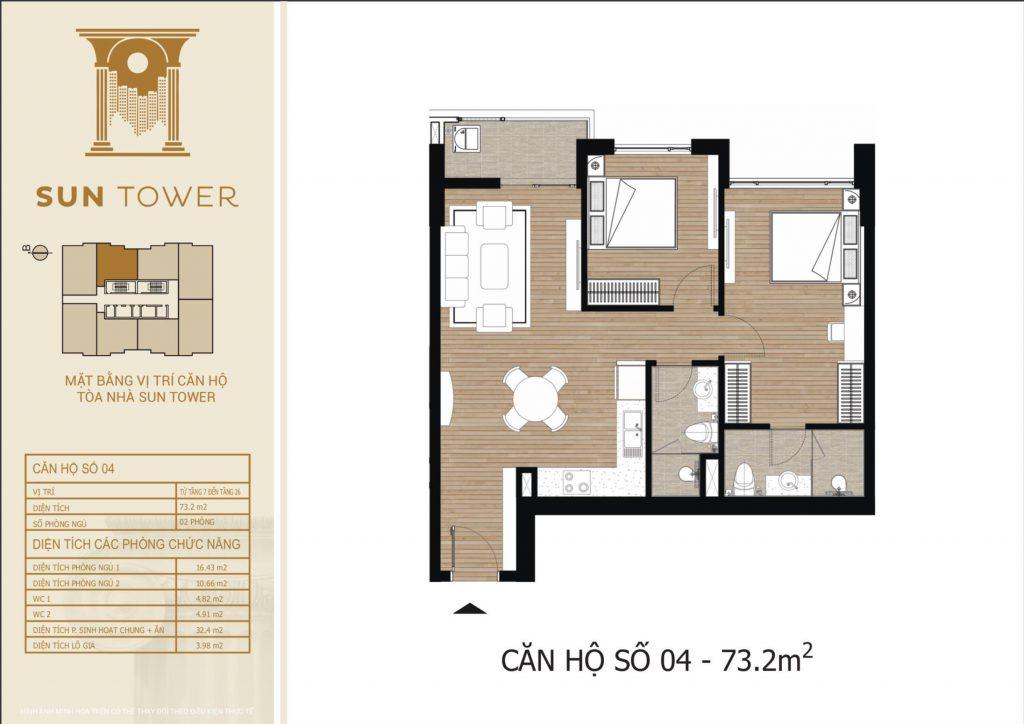 Thiết kế chi tiết căn hộ số 04 diện tích thông thủy 73,2m2