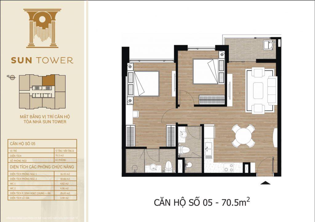 Thiết kế chi tiết căn hộ số 05 diện tích thông thủy 70,5m2