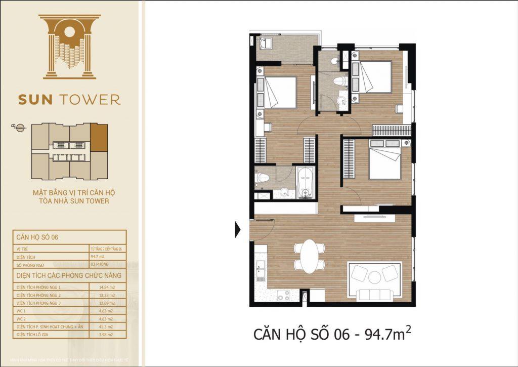 Thiết kế chi tiết căn hộ số 06 diện tích thông thủy 94,7m2