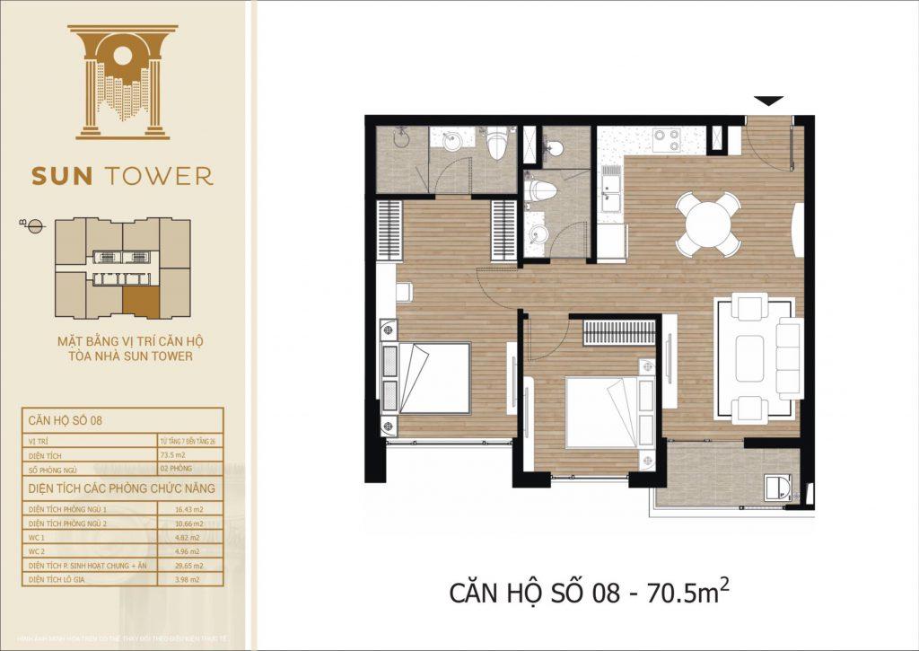 Thiết kế chi tiết căn hộ số 08 diện tích thông thủy 70,5m2