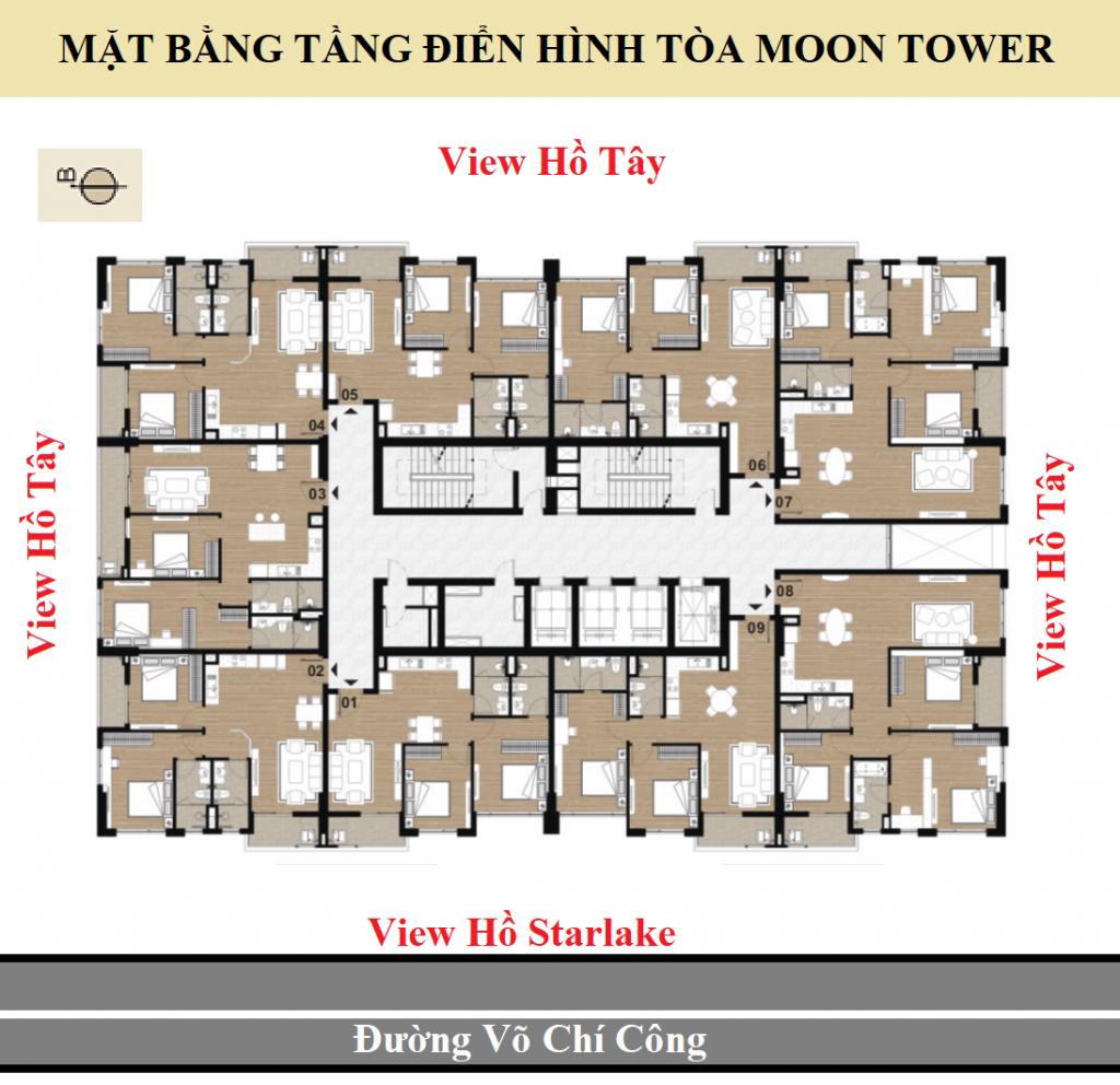 Mặt bằng Tòa Moon Tower Dự án Chung cư Tây Hồ Residence bố trí 08 căn hộ / sàn