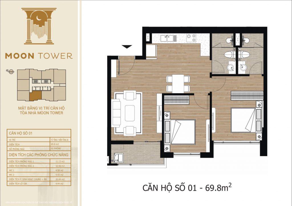 Thiết kế chi tiết căn hộ số 01 diện tích thông thủy 69,8m2