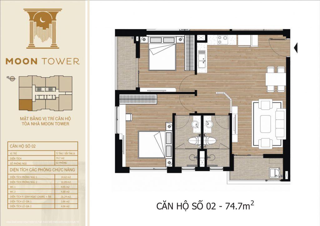 Thiết kế chi tiết căn hộ số 02 diện tích thông thủy 74,7m2
