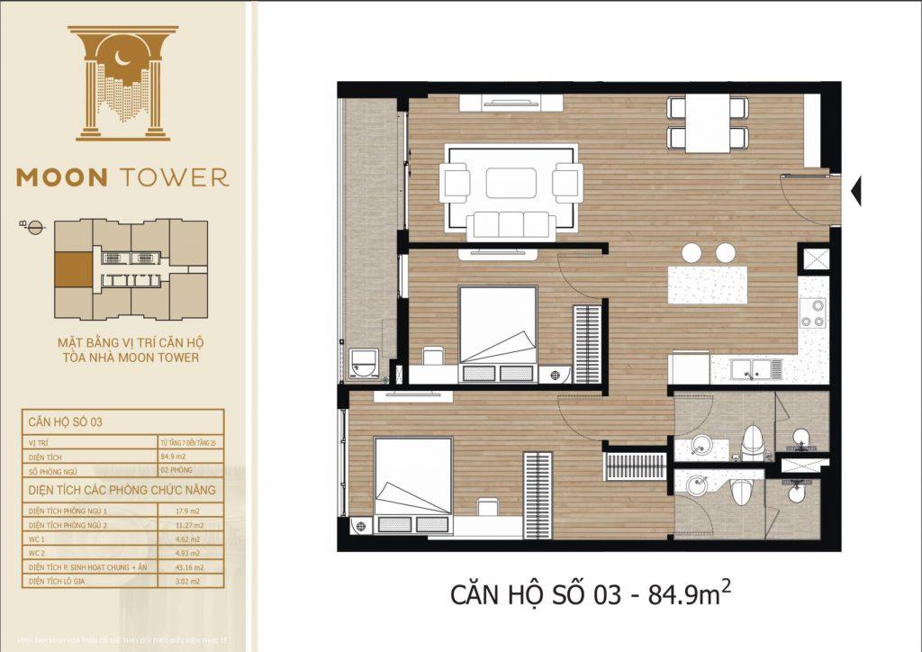 Thiết kế chi tiết căn hộ số 03 diện tích thông thủy 84,9m2