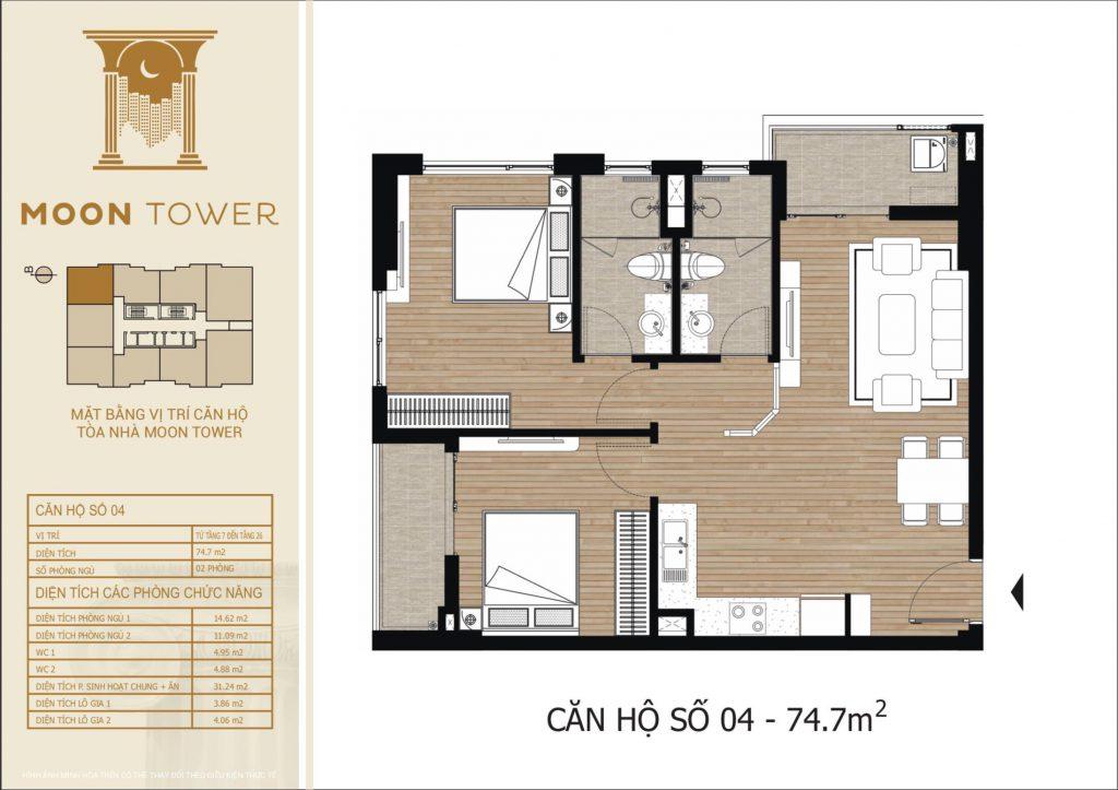 Thiết kế chi tiết căn hộ số 04 diện tích thông thủy 74,7m2