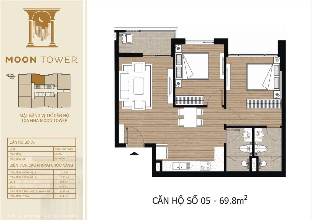 Thiết kế chi tiết căn hộ số 05 diện tích thông thủy 69,8m2