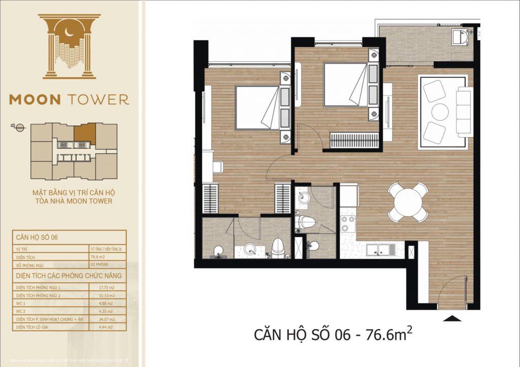 Thiết kế chi tiết căn hộ số 06 diện tích thông thủy 76,6m2