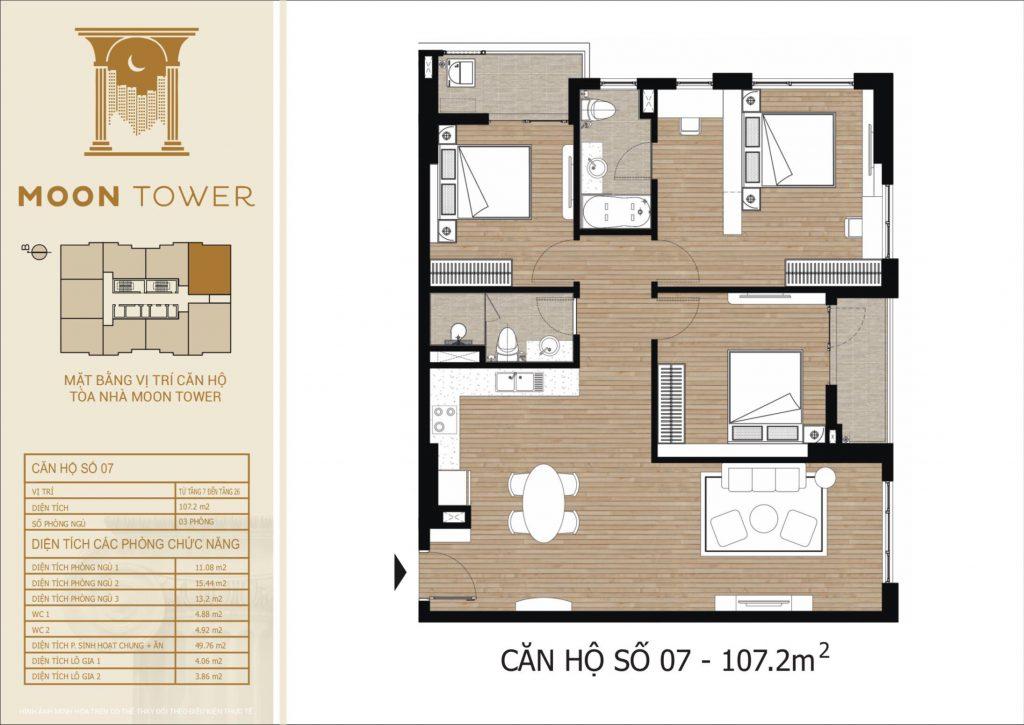Thiết kế chi tiết căn hộ số 07 diện tích thông thủy 107,2m2