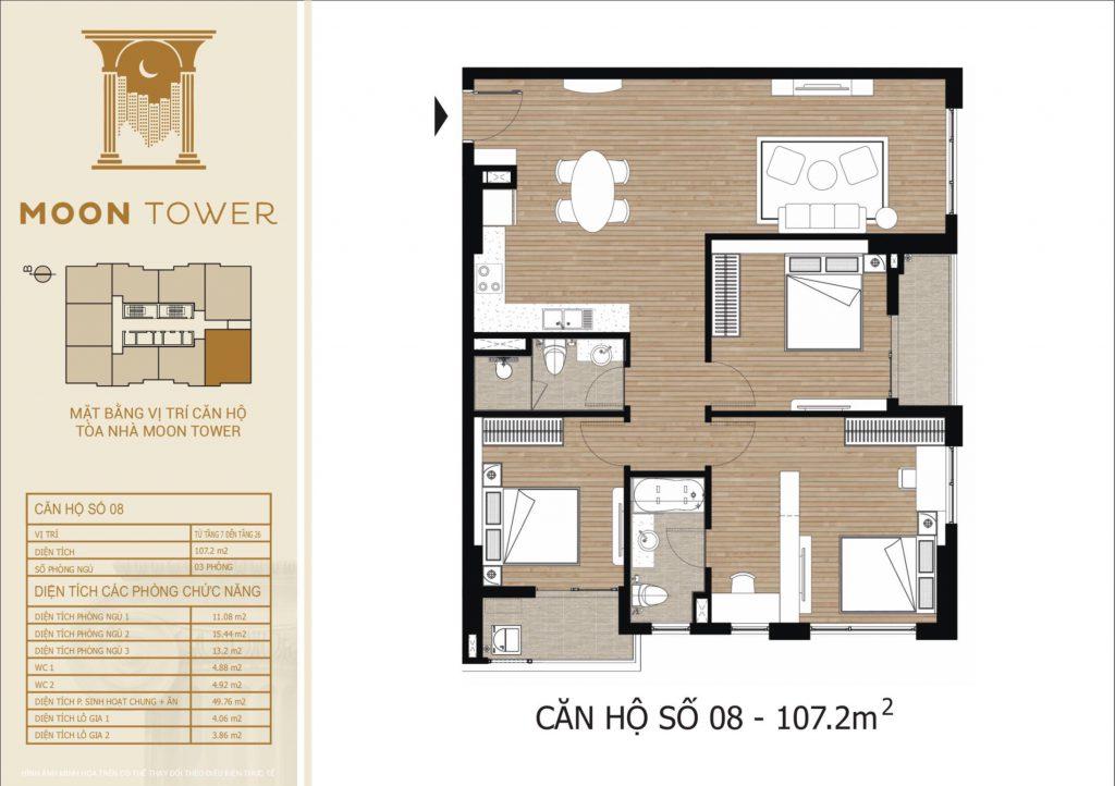 Thiết kế chi tiết căn hộ số 08 diện tích thông thủy 107,2m2