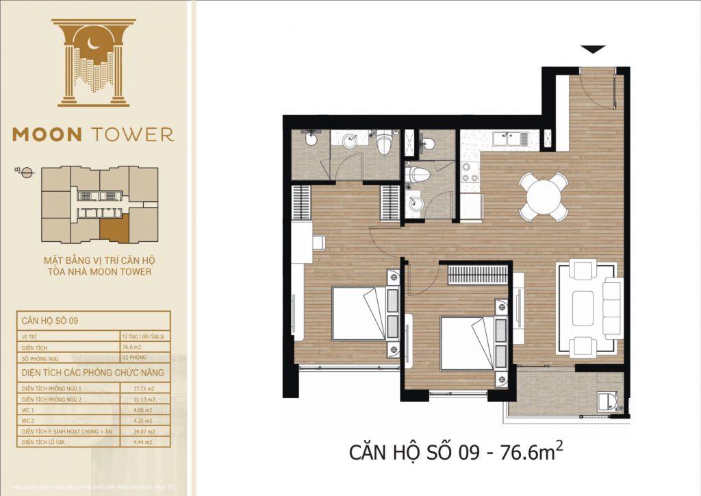 Thiết kế chi tiết căn hộ số 09 diện tích thông thủy 76,6m2