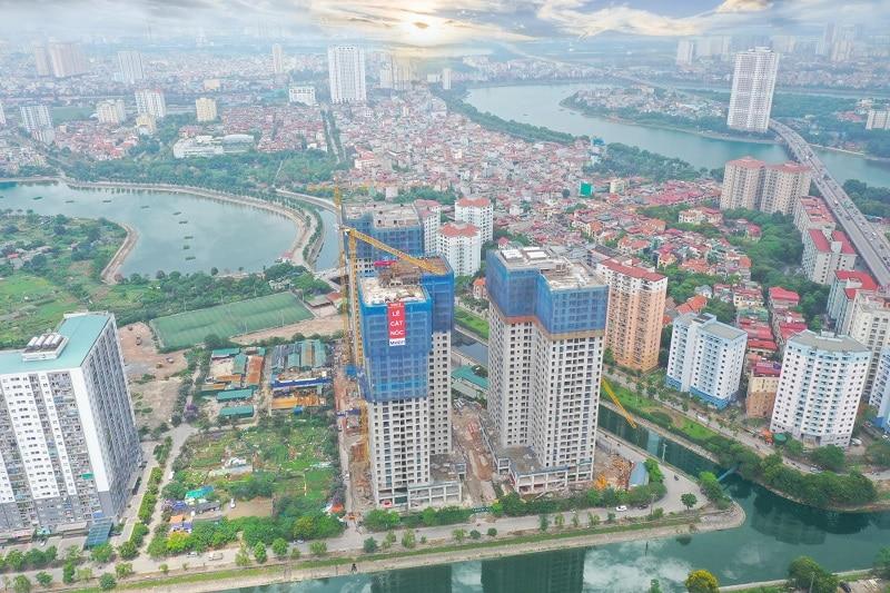 Ảnh thực tế Flycam Dự án Chung cư X2 Đại Kim phố Trần Hòa
