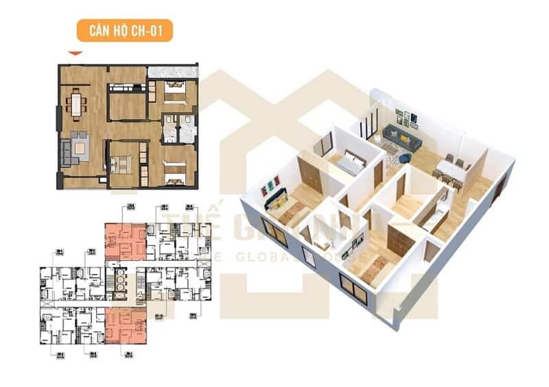 Căn hộ góc số 01 thiết kế 03 phòng ngủ Dự án Chung cư X2 Đại Kim