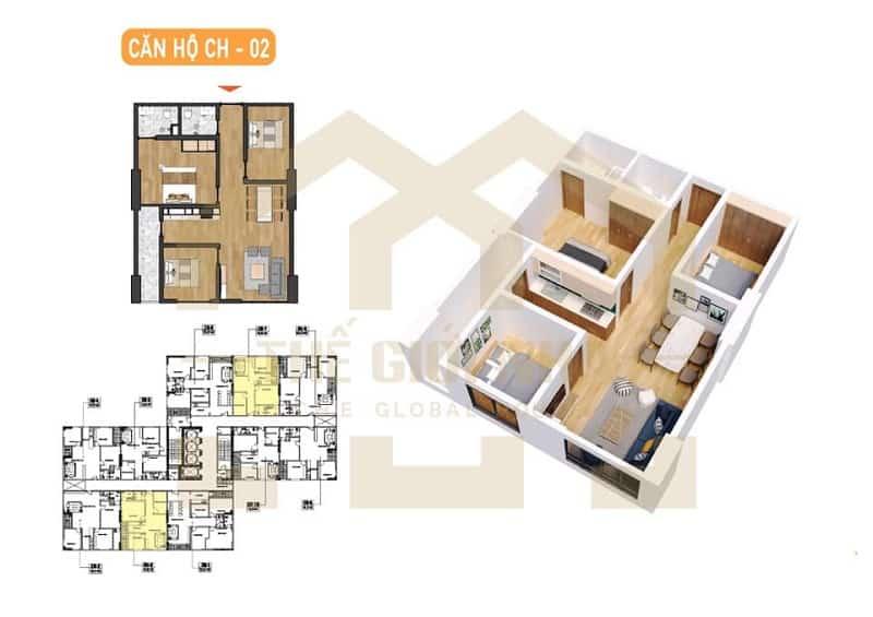 Căn hộ số 02 thiết kế 02 phòng ngủ Dự án chung cư X2 Đại Kim