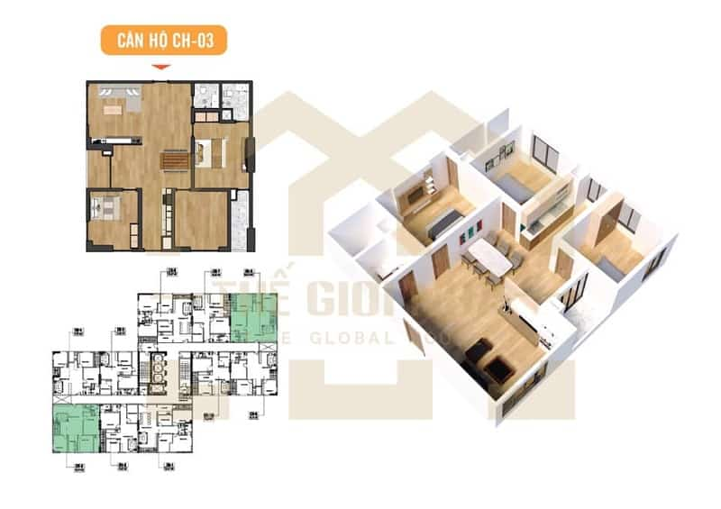 Căn hộ góc số 03 thiết kế 03 phòng ngủ Dự án Chung cư X2 Đại Kim
