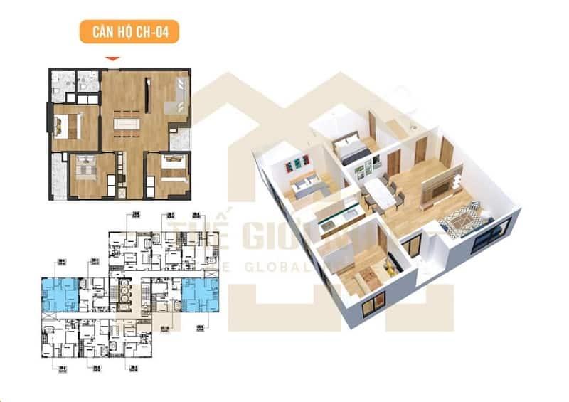 Căn hộ góc số 04 thiết kế 03 phòng ngủ Dự án Chung cư X2 Đại Kim