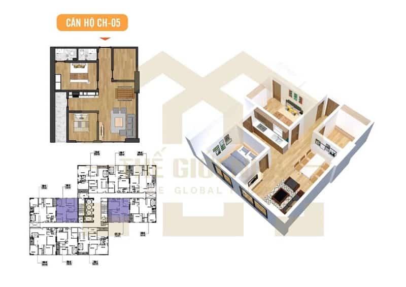 Căn hộ số 05 thiết kế 01 phòng ngủ + 1 đa năng Dự án Chung cư X2 Đại Kim