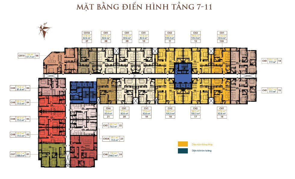 Mặt bằng tầng căn hộ 99,6m2 căn hộ Roman Plaza chính chủ