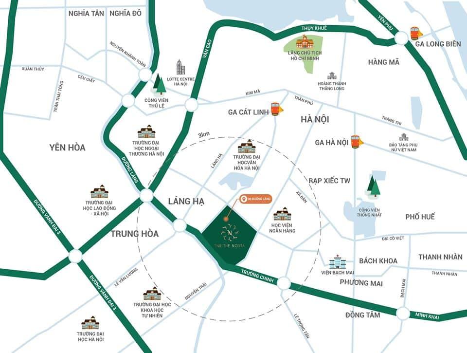 Vị trí đắc địa, tọa độ kim cương Dự án Chung cư TNR The Nosta 90 Đường Láng, Đống Đa, Hà Nội
