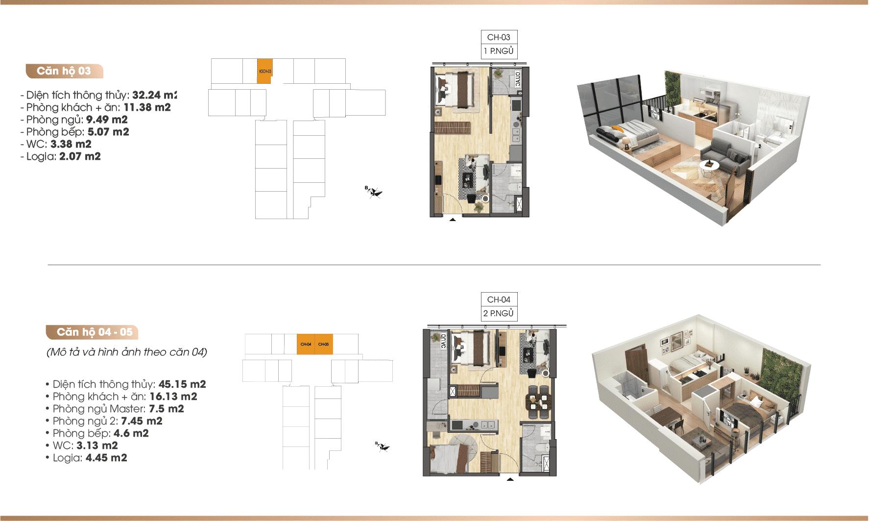 Chi tiết căn hộ Dự án TNR 90 Đường Láng 03-04-05