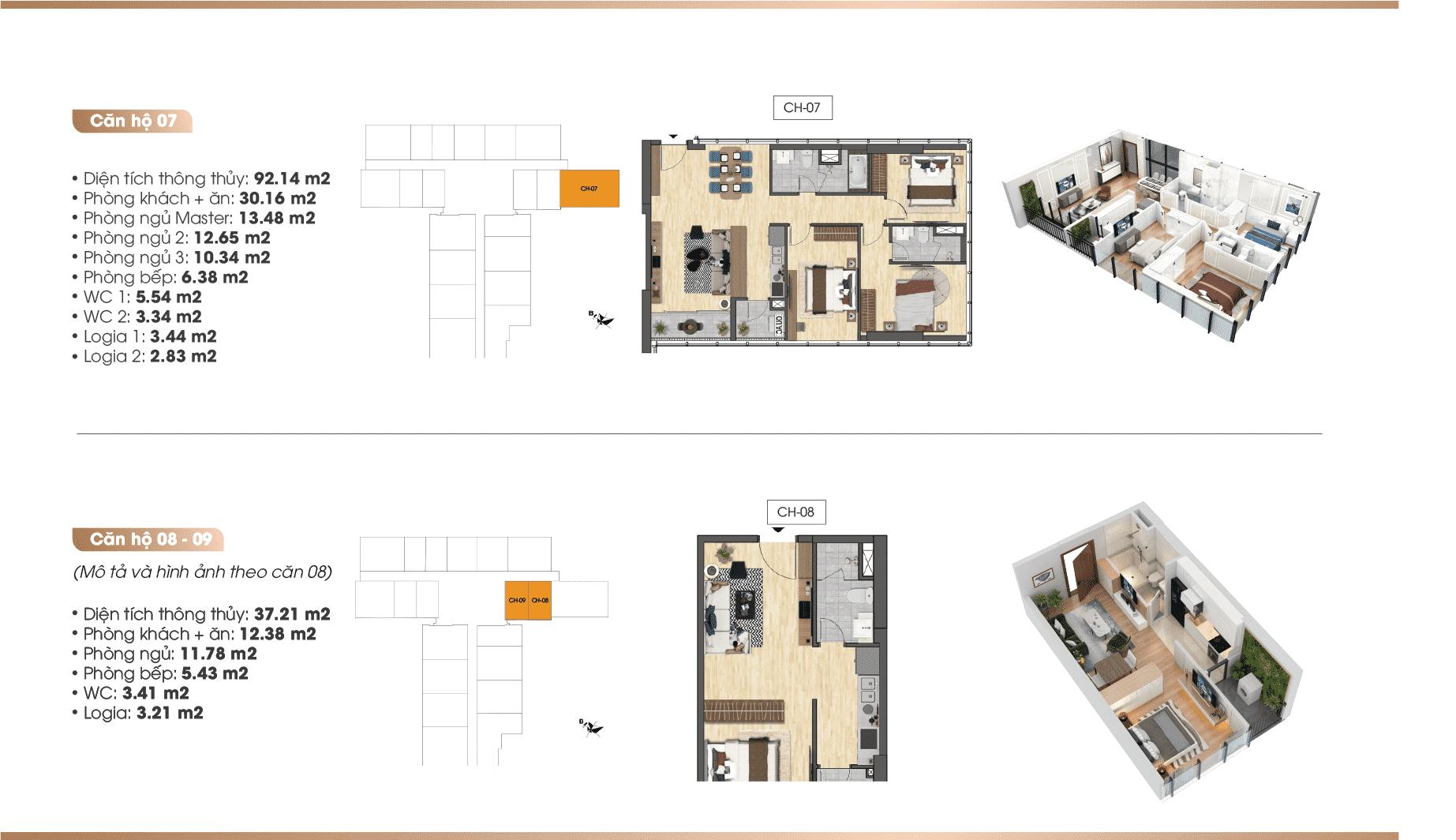 Chi tiết căn hộ Dự án TNR 90 Đường Láng 07-08-09