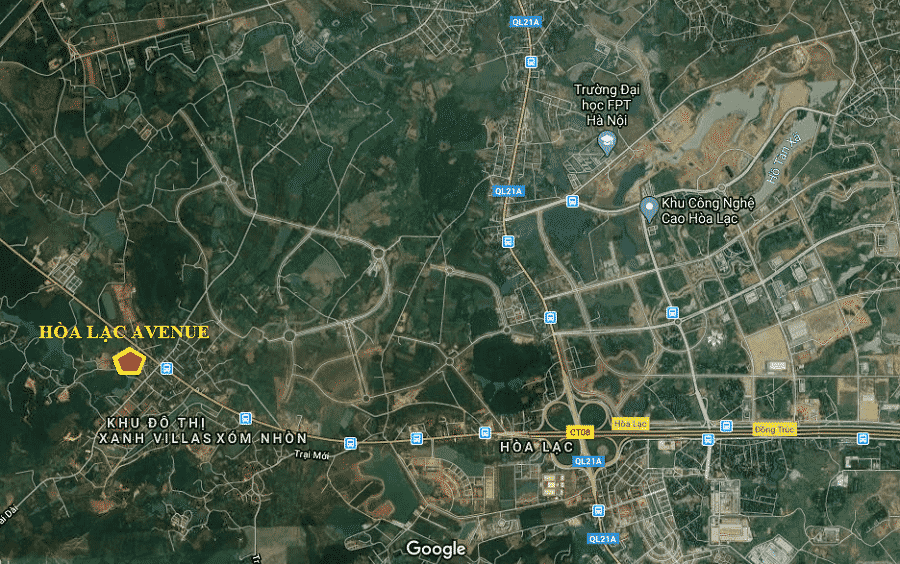Vị trí Dự án Đất nền Hòa Lạc Avenue - Đại lộ Thăng Long Hòa Lạc Hòa Bình