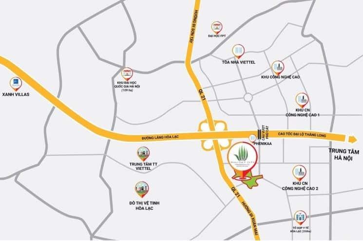 Vị trí Siêu Dự án Phú Cát City Hòa Lạc