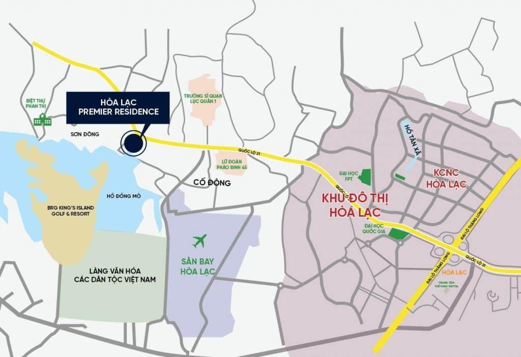 Vị trí Dự án Đất nền Hòa Lạc Premier Residence Hòa Lạc