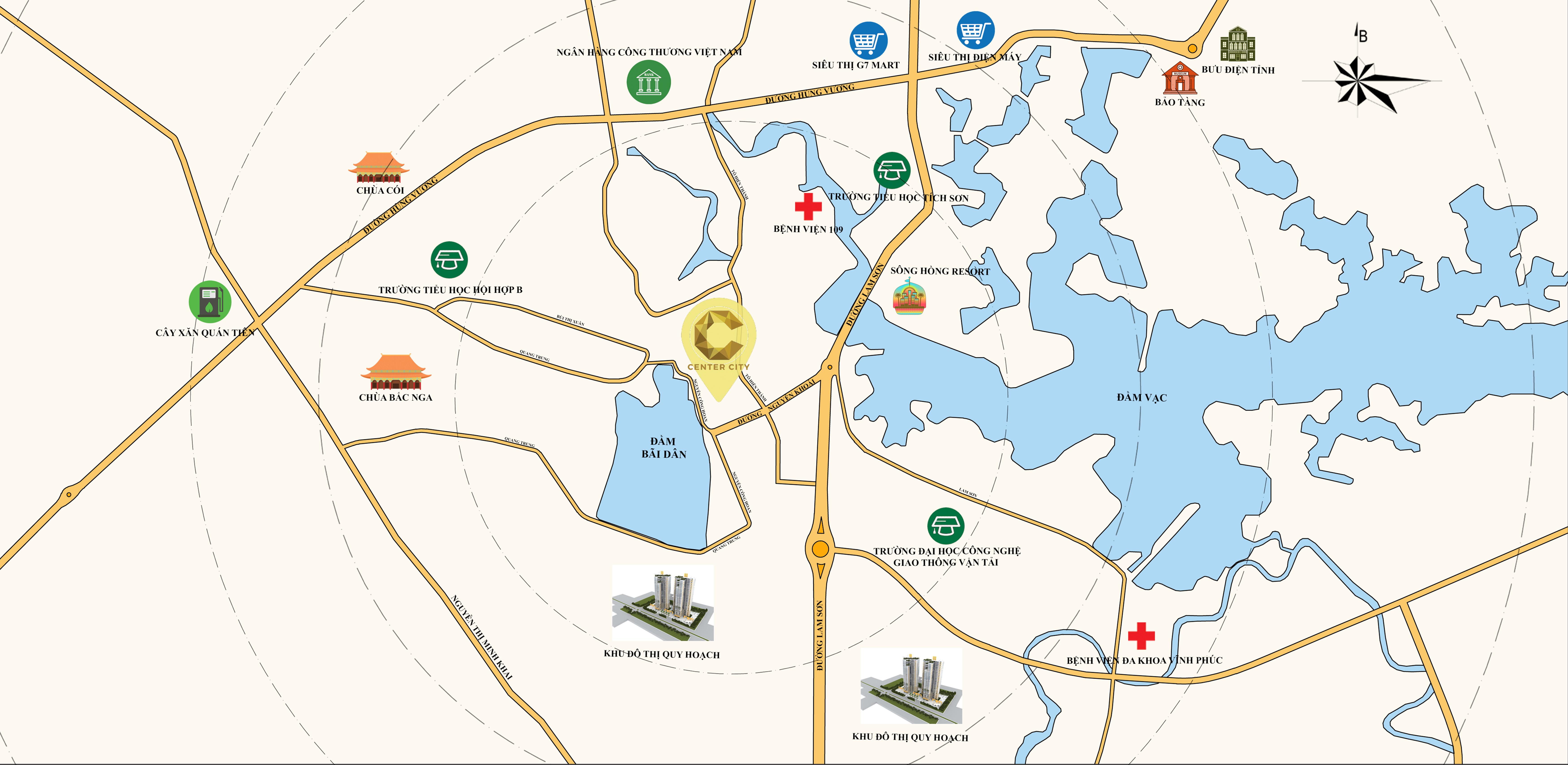Vị trí Trung tâm liền kế KDC Tỉnh Ủy - Dự án Center City Nguyễn Khoái